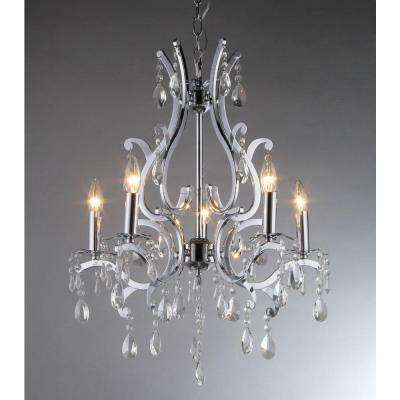 Form 5-Light Chrome Chandelier with Shade