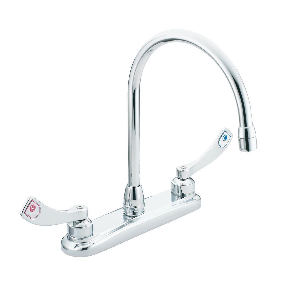 MOEN M-Dura 2-Handle High-Arc Standard Kitchen Faucet in Chrome