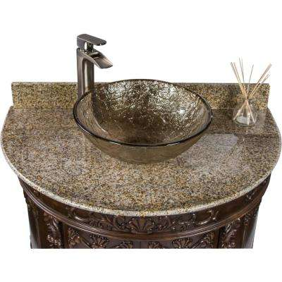 Semi-Circle 36.9 in. W x 23 in. D Bath Vanity in Espresso with Granite Vanity Top in Beige with Fawn Basin
