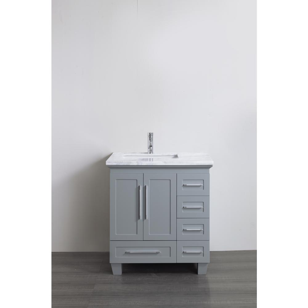 Eviva Loon 30.50 in. W x 22 in. D x 34 in. H Bath Vanity in Gray with Carrera Marble Vanity Top in White with White Basin