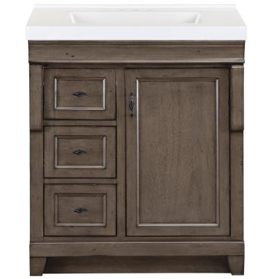 Naples 31 in. W x 22 in. D Bath Vanity in Distressed Grey with Cultured Marble Vanity Top in White with White Basin