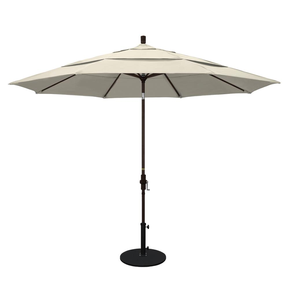 California Umbrella 11 ft. Aluminum Collar Tilt Double Vented Patio Umbrella in Antique Beige Olefin