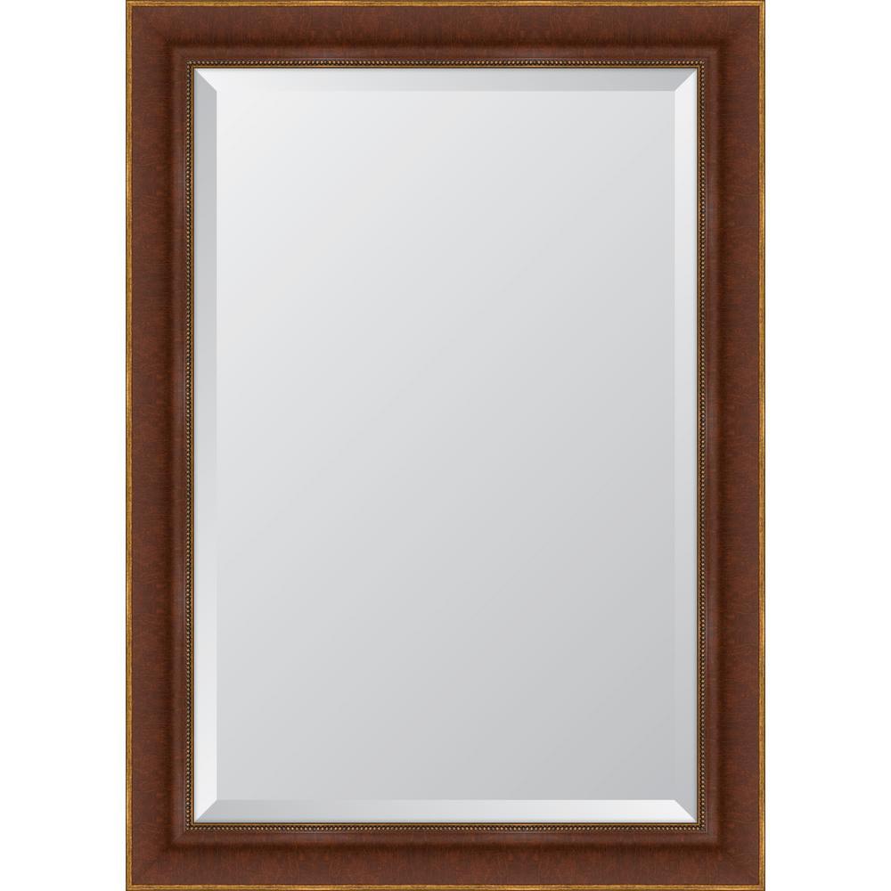 31 in. x 43 in. Framed 3-1/4 in. Mahogany Bead Napa Resin Frame Mirror
