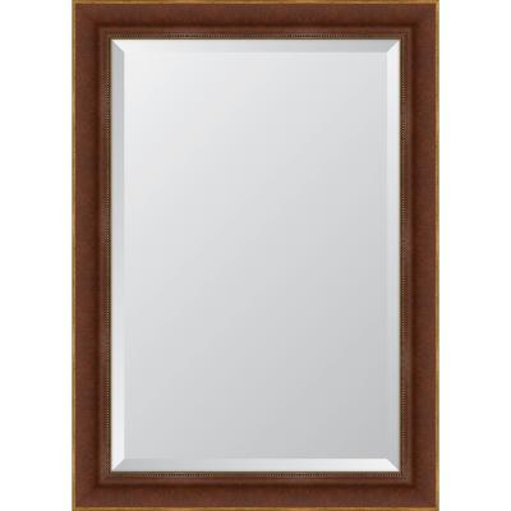 Medium Rectangle Walnut Beveled Glass Classic Mirror (31 in. H x 43 in. W)