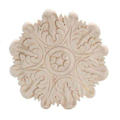 8 in. x 7/8 in. Unfinished X-Large Hand Carved North American Solid Hard Maple Rosette Acanthus Wood Applique