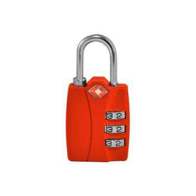 3 Digit Combination Padlock in Red - TSA Approved