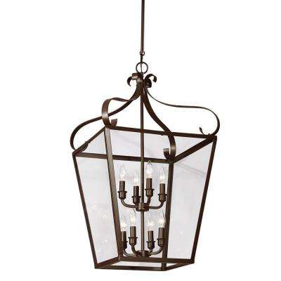 Lockheart 18 in. W x 32.75 in. H 8-Light Heirloom Bronze Hall/Foyer Lantern Pendant with Clear Glass Panels