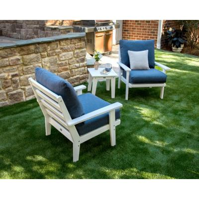 Grant Park White 3-Piece Plastic Patio Deep Seating Set with Stone Blue Cushions