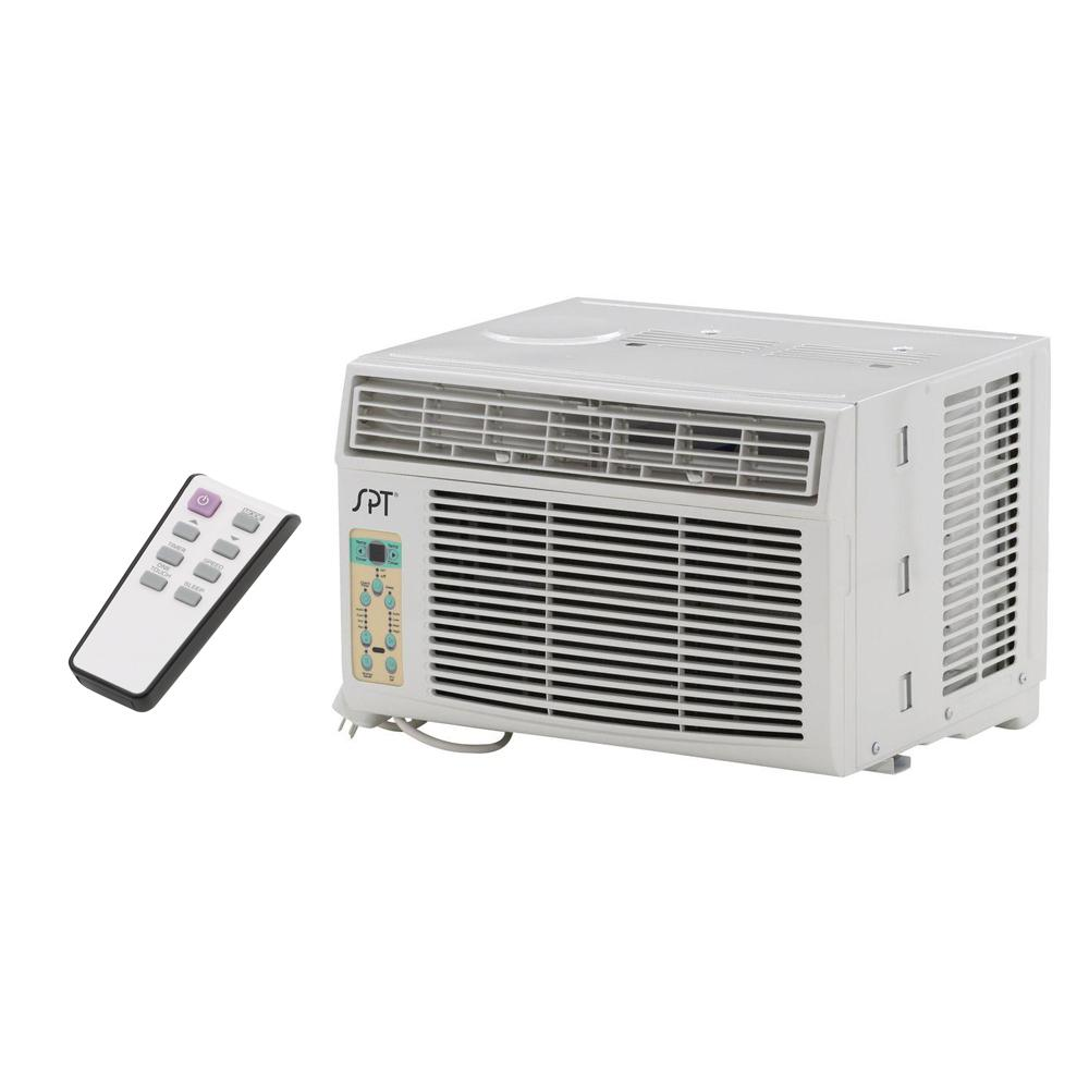 SPT 6,000 BTU 115V Window Air Conditioner with Remote Control Perfect for cooling down a single room or studio. Window kit supplied for left and right side of unit - ideal for vertical opening windows. User-friendly controls and remote. Easy to remove washable air filter with helpful reminder.