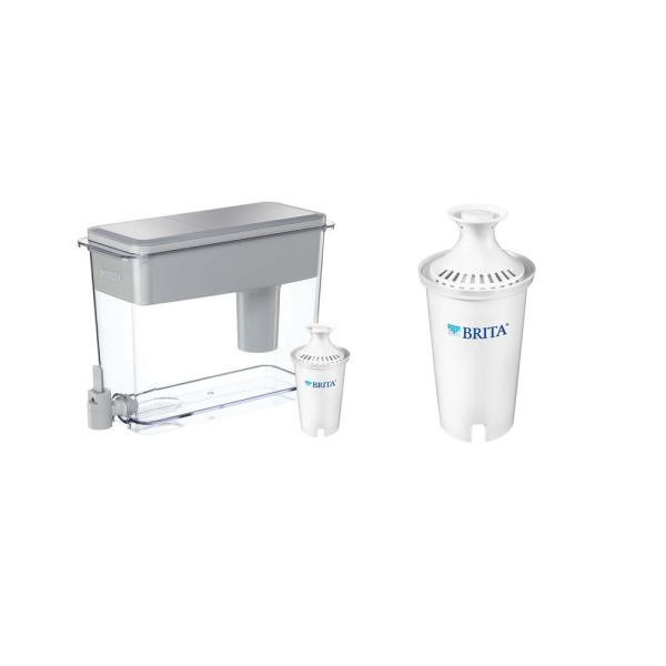 18-Cup UltraMax Water Filter Pitcher Dispenser and Water Filter Replacement Bundle, BPA Free