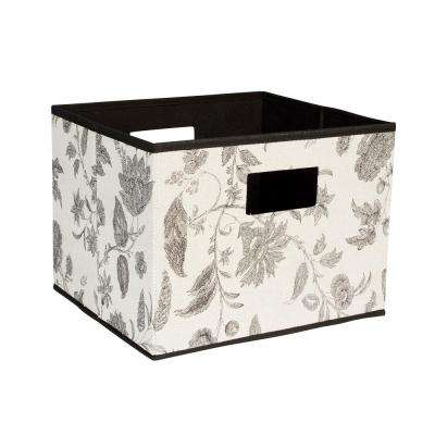 13 in. x 10 in. Deluxe Open Storage Bin with Cutout Handles in Taupe Floral