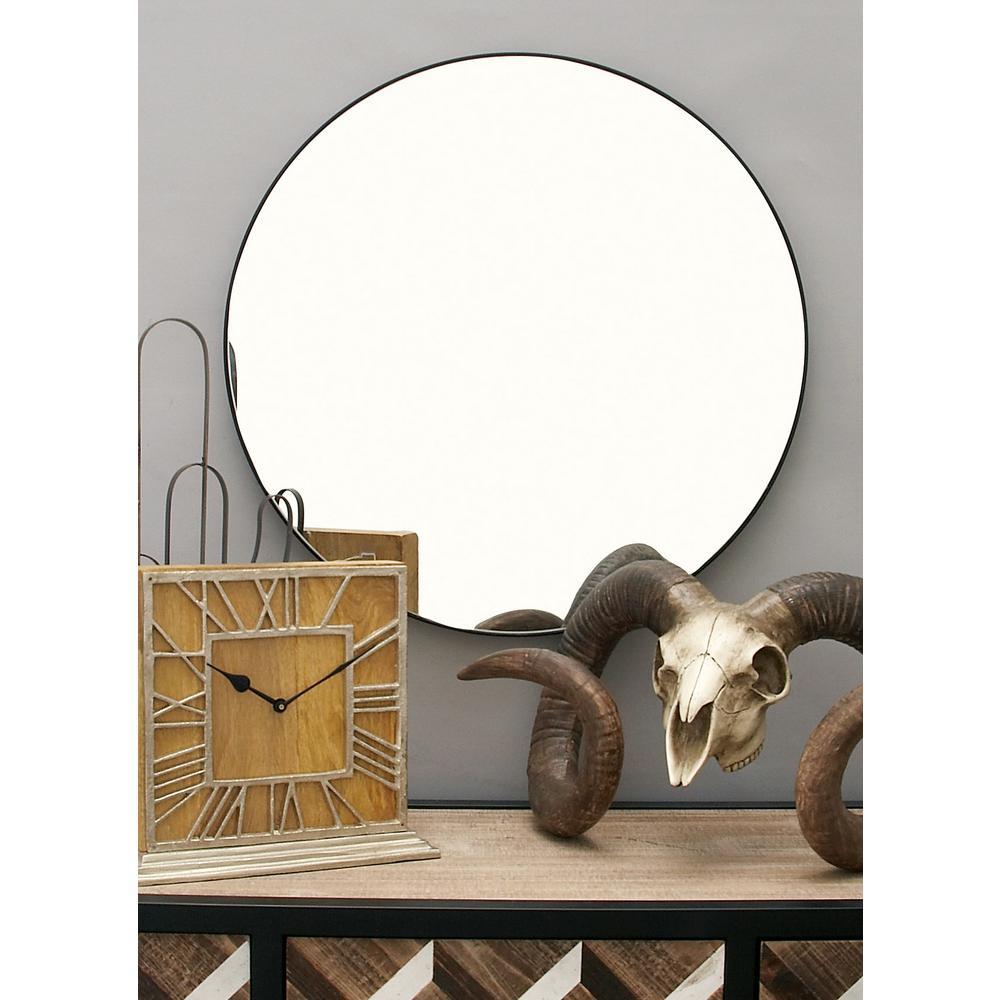 24 in. Modern Circular Black Wall Mirror