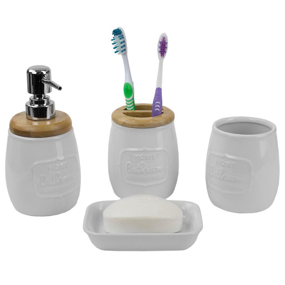 Rustic Bamboo Accents 4-Piece Ceramic Bath Accessory Set in White