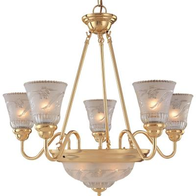 7-Light Plated Polished Brass Chandelier with Frosted Clear Glass Shade