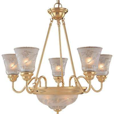 2c07993e1d5 7-Light Plated Polished Brass Chandelier with Frosted Clear Glass Shade ·  Exclusive Hampton Bay ...