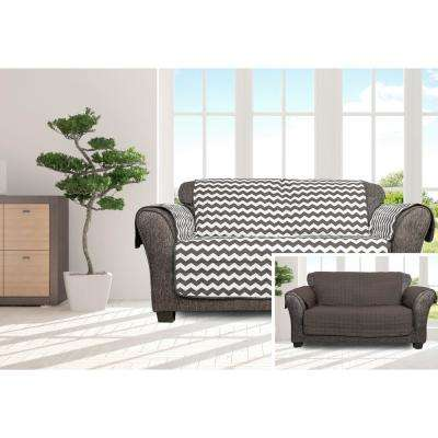 Fifi Water Resistant Grey Fit Polyester Fit Loveseat Slip Cover