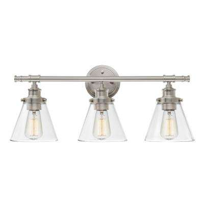 Brushed nickel vanity lighting lighting the home depot parker 3 light brushed nickel vanity light with clear glass shades aloadofball Image collections