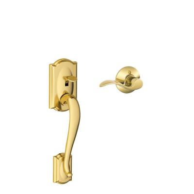 Camelot Bright Brass Entry Door Handle with Left Handed Accent Lever
