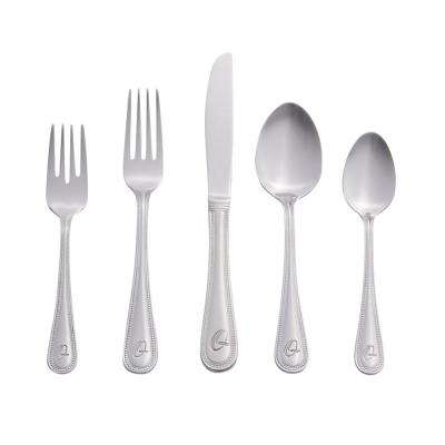 Beaded Monogrammed Letter Q 46-Piece Silver Stainless Steel Flatware Set