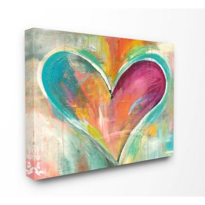 "30 in. x 40 in.""Abstract Colorful Textural Heart Painting"" by Artist Kami Lerner Canvas Wall Art"