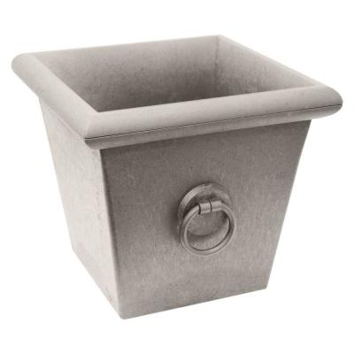 Piazza 22 in. W x 20 in. H Concrete Grey Color Rubber Self-Watering Planter