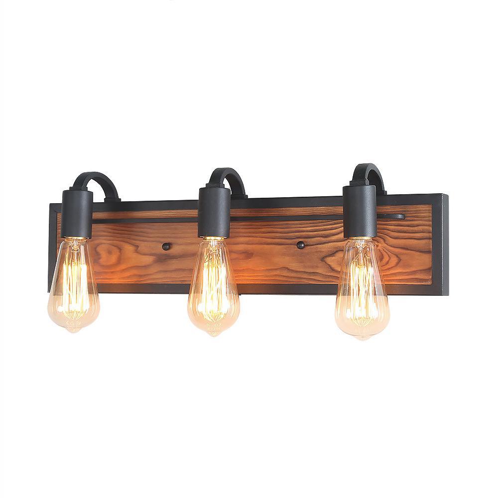 Lnc 3 Light Black Rustic Bathroom Lighting Wood Wall Sconce Vanity Bath Light A03440 The Home
