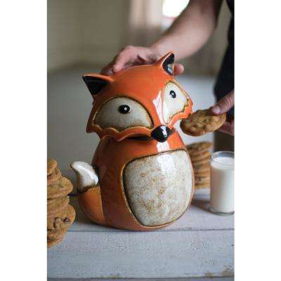 2-Piece Ceramic Fox Canister with Lid