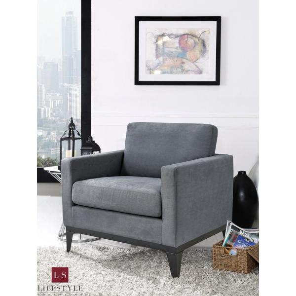Delray Large Chair With Hardwood Frame & Quality Fabric, Grey