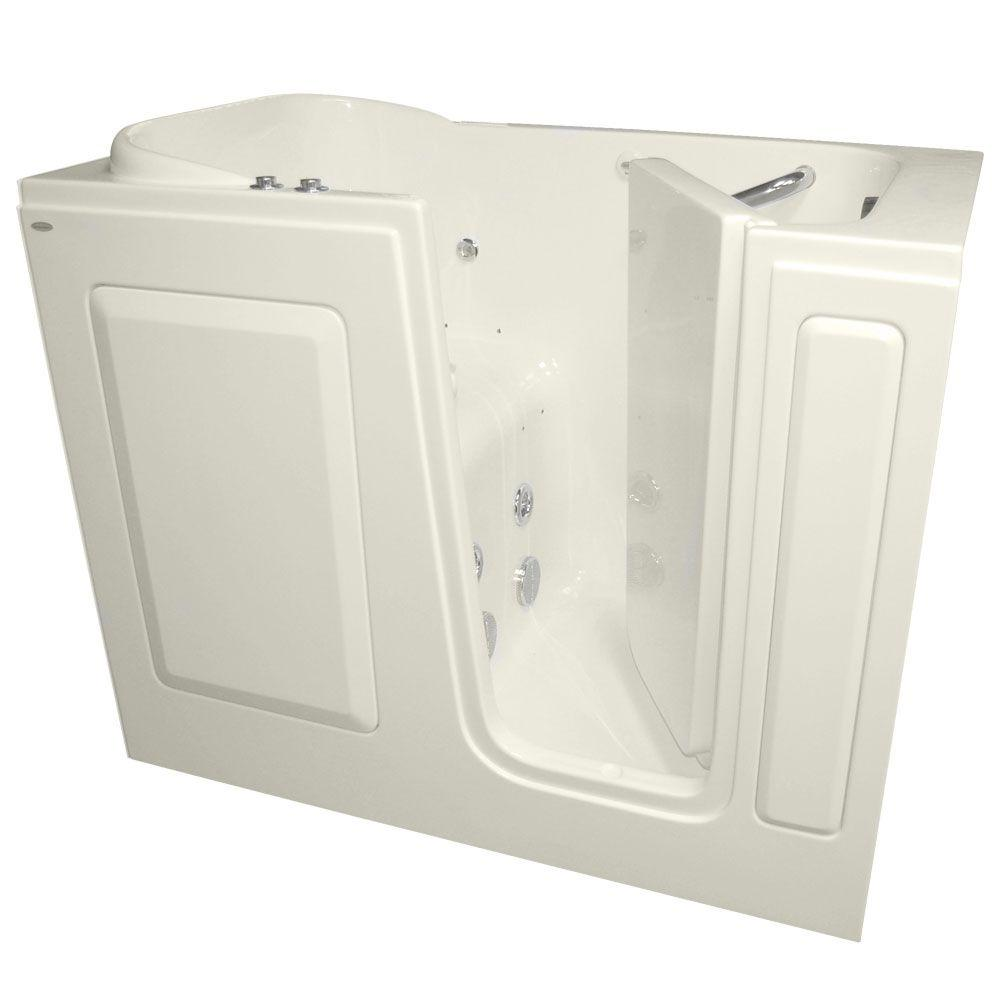 American Standard Gelcoat 4 ft. Right Quick Drain Walk-In Whirlpool and Air Bath Tub in Linen