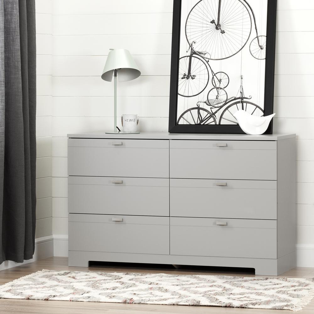 Reevo 6-Drawer Soft Gray Dresser