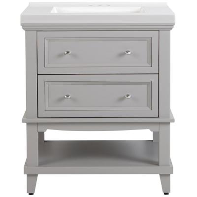 Teasian 31 in. W x 22 in. D Bath Vanity in Sterling Gray with Cultured Marble Vanity Top in White with White Sink