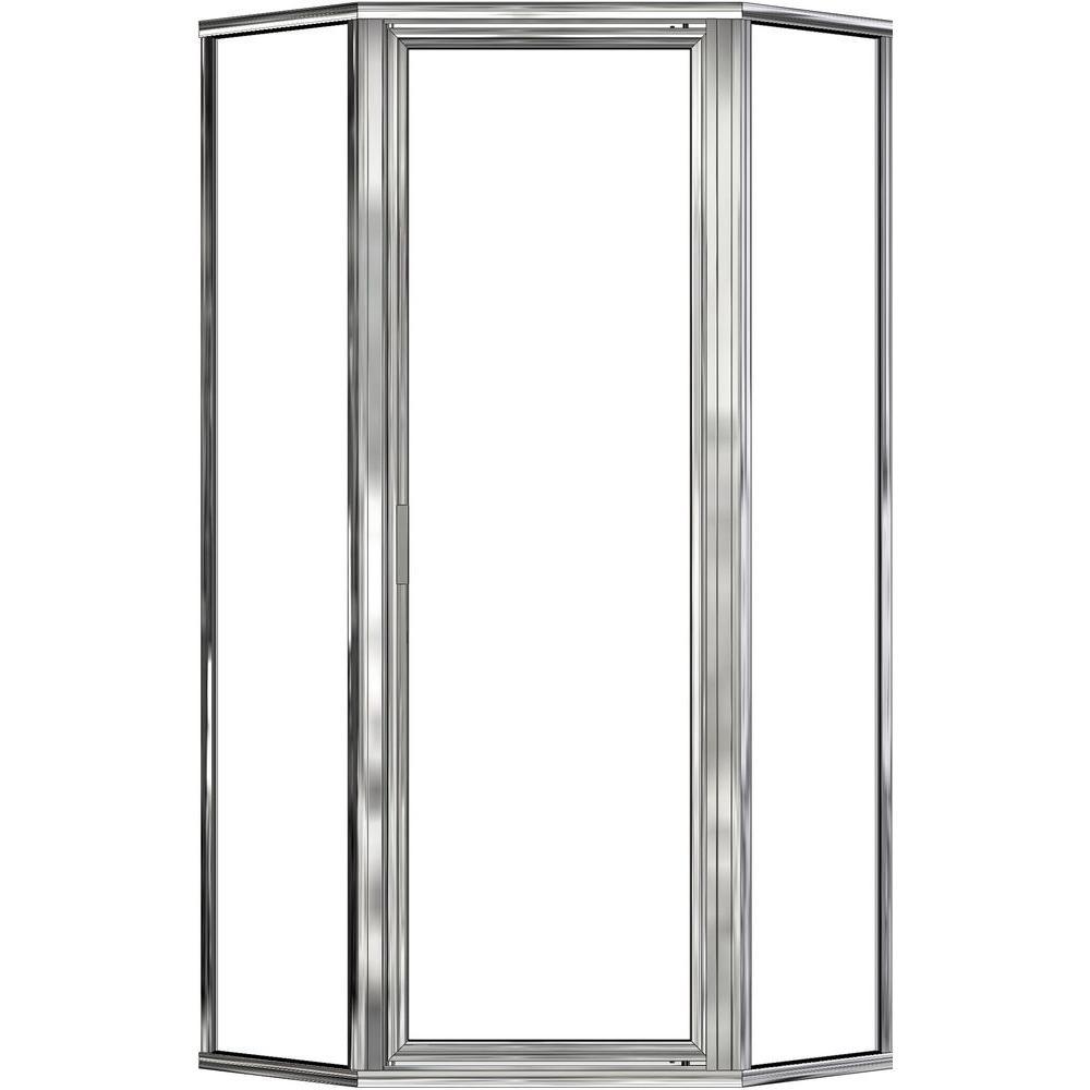 Deluxe 27-1/2 in. x 67-5/8 in. Framed Neo-Angle Shower Door in Silver