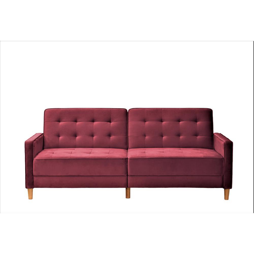 Jonathan Burgundy Tufted Velvet Sofa Bed Sleeper