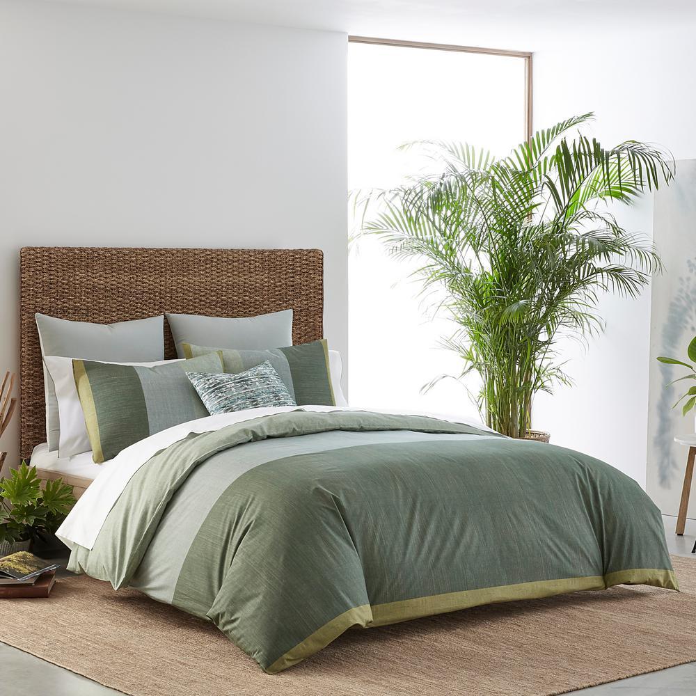 Chambray Color Block Green Cotton 3-Piece Full/Queen Duvet Set