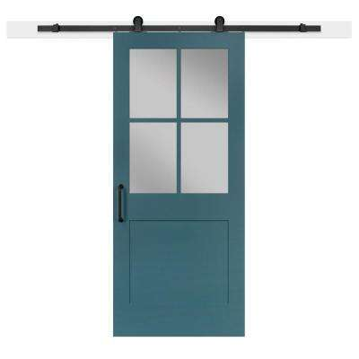 36 in. x 84 in. Pacific 1-Panel Privacy Half-Lite Satin Solid-Core MDF Barn Door with Sliding Door Hardware Kit