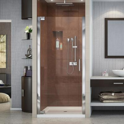 Elegance 30-1/2 in. to 32-1/2 in. x 72 in. Semi-Frameless Pivot Shower Door in Chrome