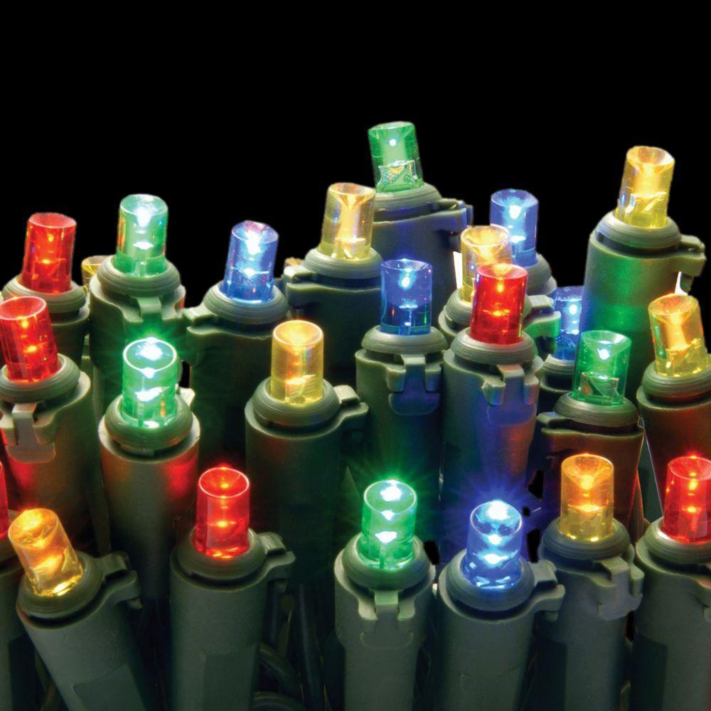 50-Light LED Multi-Color Concave Bulb Light String Set