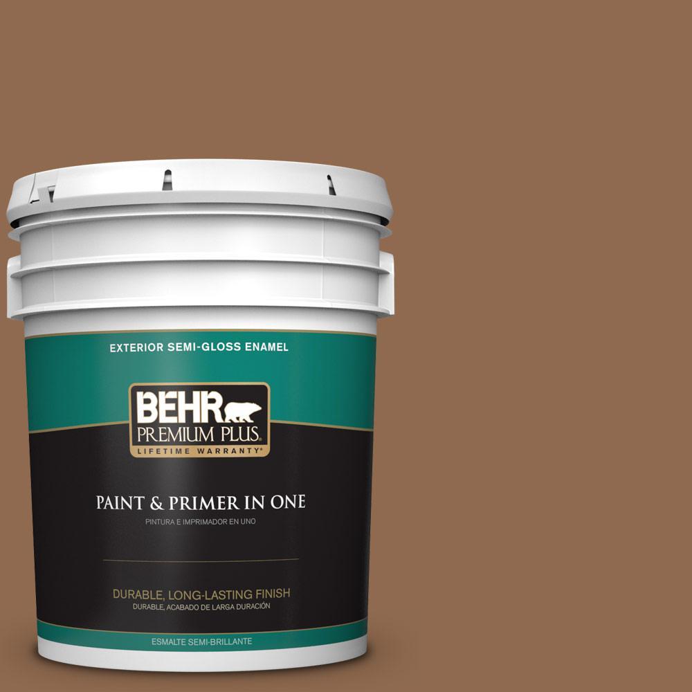 5 gal. #PPU4-01 Caramel Swirl Semi-Gloss Enamel Exterior Paint