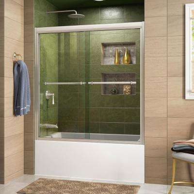 Duet 56 in. to 59 in. x 58 in. Semi-Frameless Bypass Tub Door in Brushed Nickel