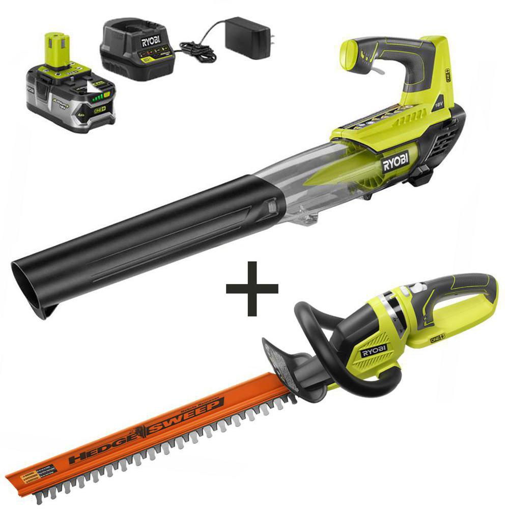 RYOBI ONE+ 100 MPH 280 CFM 18-Volt Lithium-Ion Cordless Jet Fan Leaf Blower and Hedge Trimmer with 4 Ah Battery and Charger