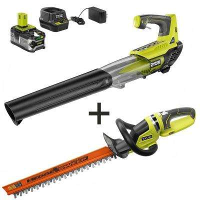 ONE+ 100 MPH 280 CFM 18-Volt Lithium-Ion Cordless Jet Fan Leaf Blower and Hedge Trimmer with 4 Ah Battery and Charger