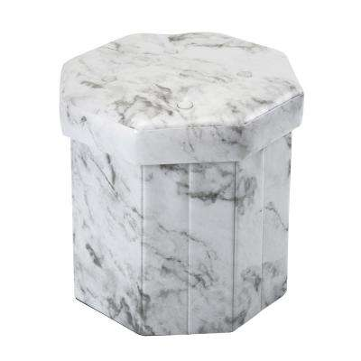 Marble Print with 15 in. D and 4-Buttons on Top Octagon Folding Faux Leather Ottoman