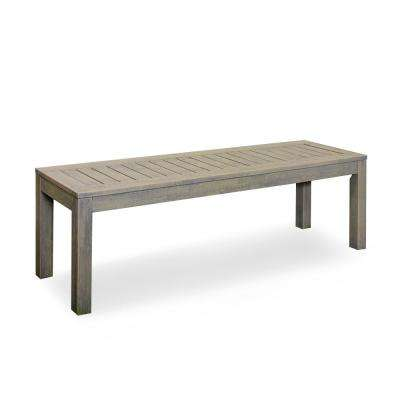 Braga Weathered Gray Wood Outdoor Backless Bench