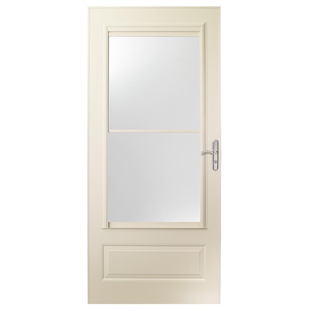 EMCO 32 in. x 80 in. 400 Series Almond Universal Self-Storing Aluminum Storm Door with Nickel Hardware