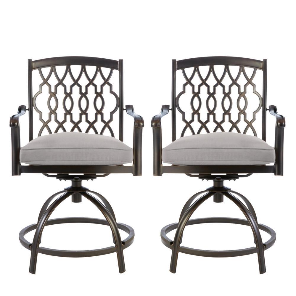 Ridge Falls Dark Brown Aluminum Outdoor Patio Swivel Dining Chair with CushionGuard Stone Gray Cushions (2-Pack)
