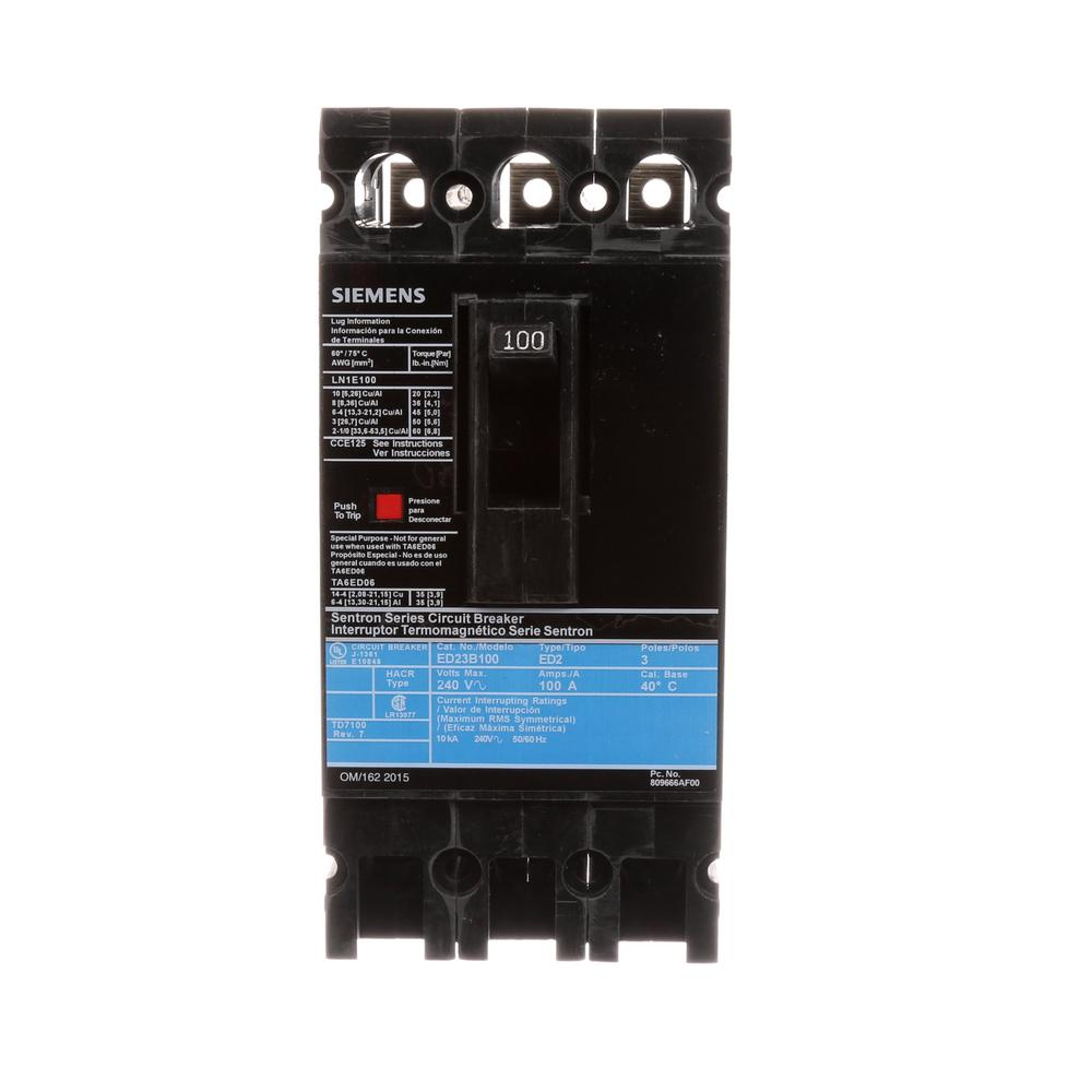 100 Amp 3-Pole Type ED 10 kA Circuit Breaker