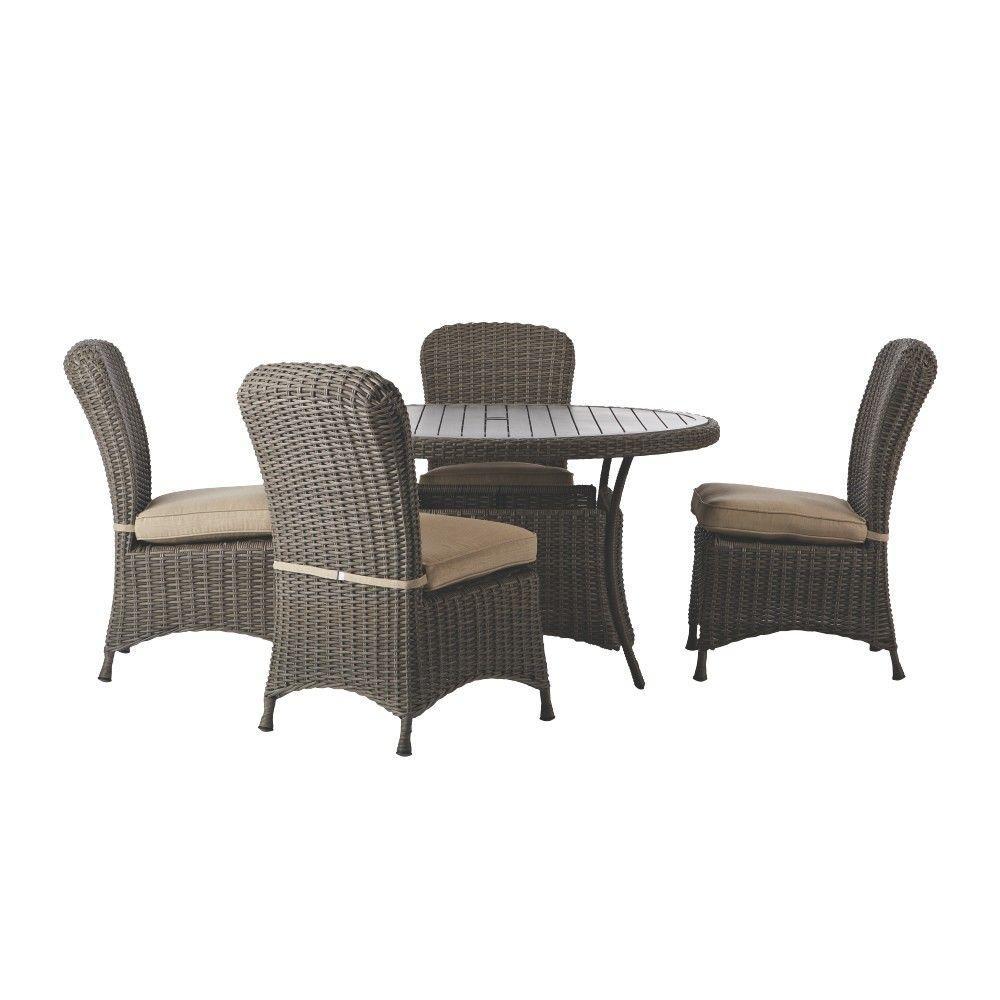 Martha Stewart Living Lake Adela Weathered Grey 5 Piece Patio Dining Set With Sand Cushions