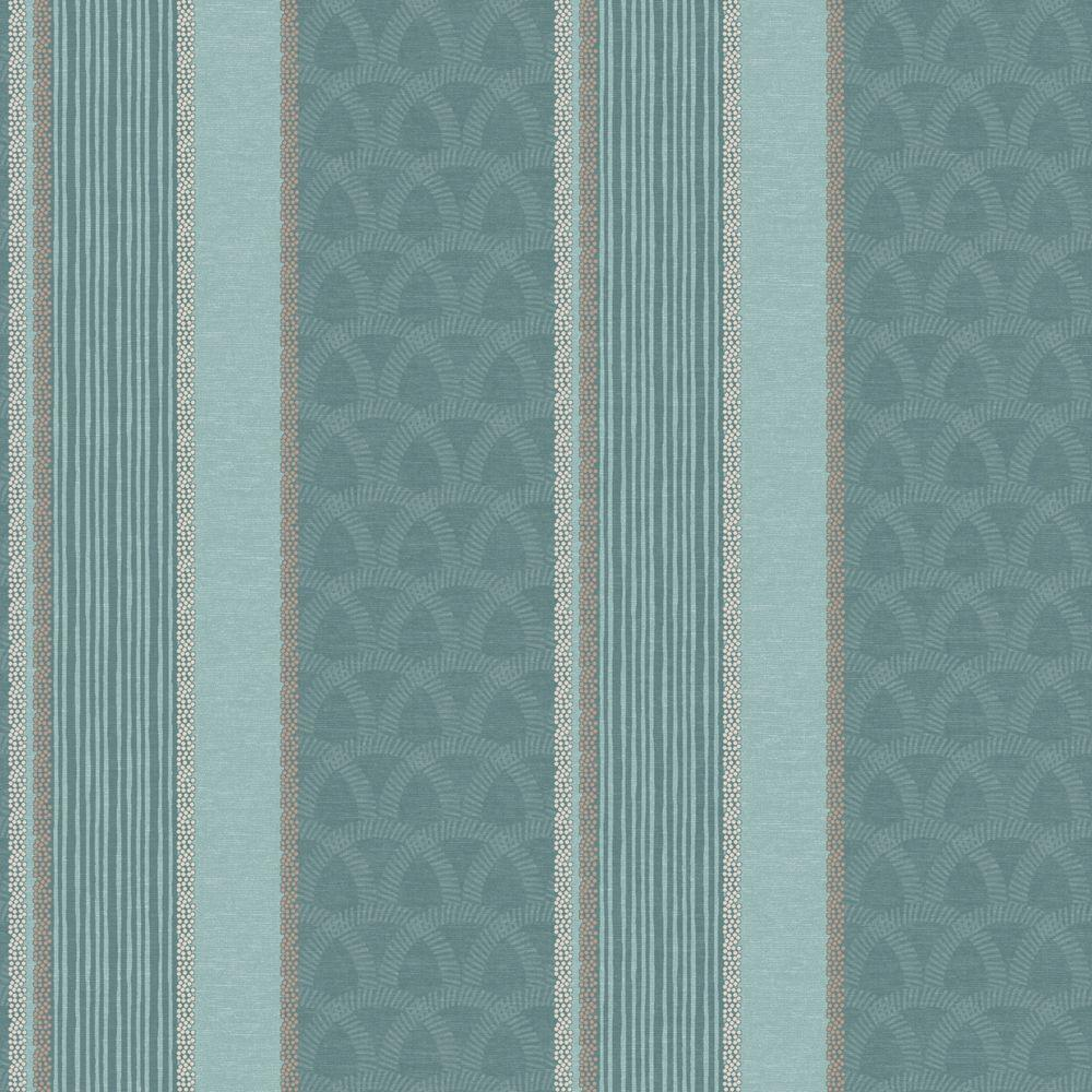The Wallpaper Company 56 sq. ft. Blue Multi Pattern Stripe Wallpaper-DISCONTINUED