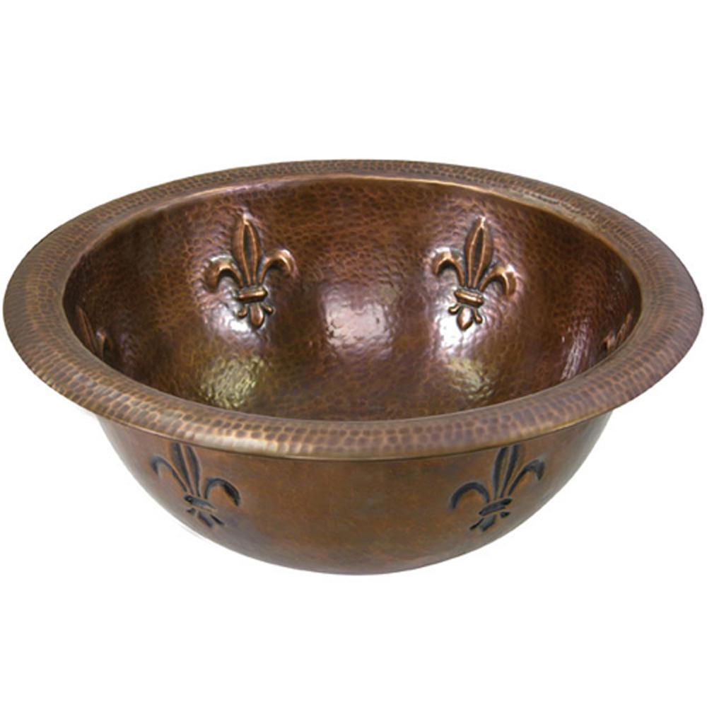 Hammerwerks Fleur Di Lis Drop-In Copper Lavatory Sink in Antique Copper