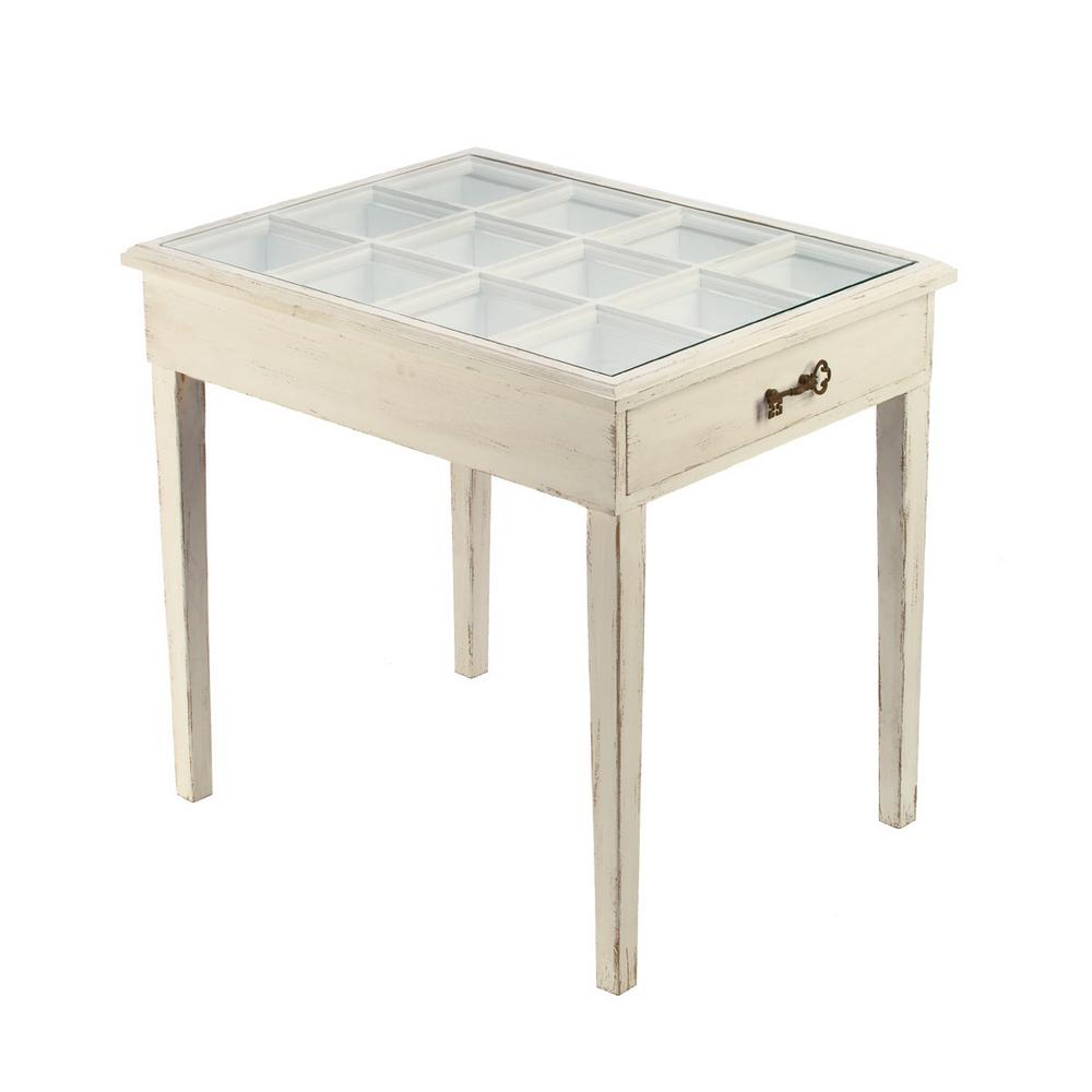 Null Distressed Cream Glass Window Pane Accent Table